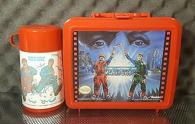 Vintage Nintendo Aladdin Red Super Mario Bros Plastic Lunchbox and Thermos 1993