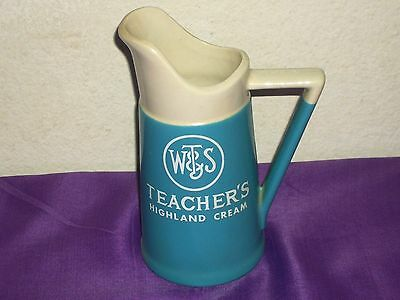 "WT & S Teacher's Highland Cream Collectible Ceramic Pitcher 8"" High Blue & White"