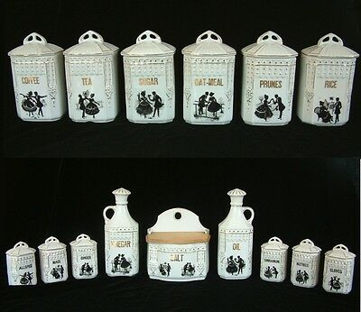 Juno Cecho-Slovakia Czech Spice Jar Canister Set Blk White Victorian Silhouettes