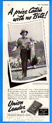 "Vintage 1937 Union Leader Tobacco Original Print Ad ""Prize Catch"" Fishing Ad"