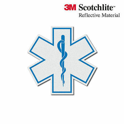 3M Reflective White Star of Life EMS Sticker Decal - 2""