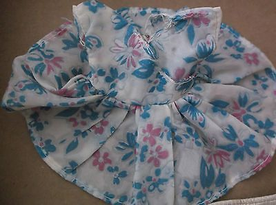 """1950's DOLL DRESS PRINT NYLON FLORAL, Small for Ginger Ginny Muffie 8"""" size"""