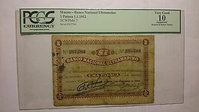EARLY Macau Banco Nacional Ultramarino 1 Pataca 1912 Pick 7 PCGS Very Good 10 VG