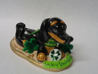 "Hand Sculpted~Black Tri Color Dachshund ""lucky Dog"" Lucky Charms Art Figurine~"