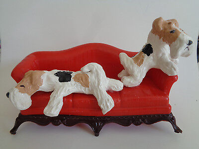 """Hand Sculpted~Wire Fox Terrier Pair """"on Red Couch Sofa""""****ooak Artist Piece****"""