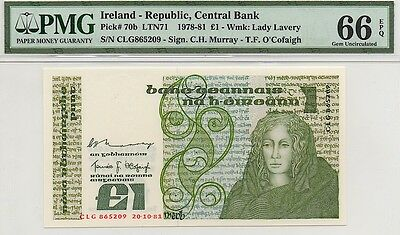 IRELAND 1981 1 POUND NOTE, P70b, PMG 66 EPQ