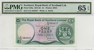 ROYAL BANK OF SCOTLAND 1981 1 ONE POUND NOTE, P336a, PMG 65 EPQ