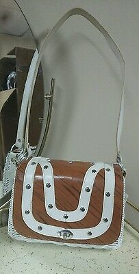 "Vintage Retro White Vinyl Wicker purse with brown ""leather"" mod flap"