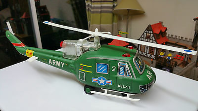 Vintage Tinplate Battery Operated Toy Army Helicopter Tn Nomura Japan