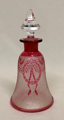 Antique St. Louis French Art Glass Etched Ruby Cameo Cut Perfume Bottle