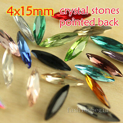 20p Rhinestone 4x15mm pointed back Navette Foiled Fancy Crystal Stone/beads Y-pk