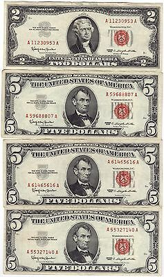 1963 Three US Note $5 & One $2 Dollars US Note Currency, Paper Money