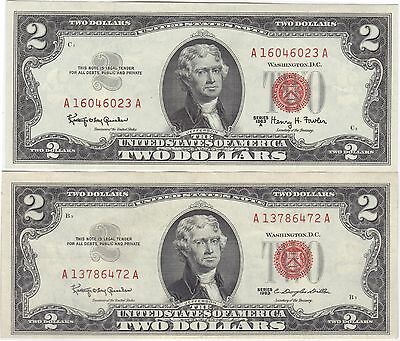 1963 & 1963 A US Notes Two $2 Dollars US Note Currency, Paper Money