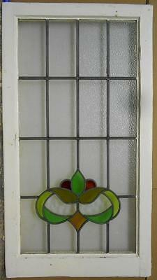 "LARGE OLD ENGLISH LEADED STAINED GLASS WINDOW Beautiful Floral 21.75"" x 39.75"""