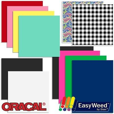 Oracal Vinyl and Siser EasyWeed Heat Transfer Starter Sample Pack - 12 Sheets