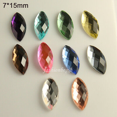 24pcs glass 7x15mm Czech Crystal rhinestones flatback Cabs navette U-pick colors