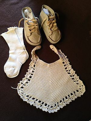 Vintage Leather Toddler Shoes, Socks and Hand Crocheted Bib