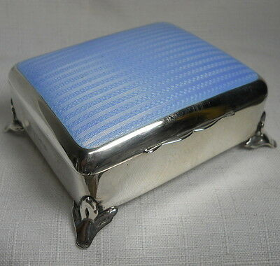 Antique Solid Sterling Silver Box GUILLOCHE Enamel From Birmingham England 1911