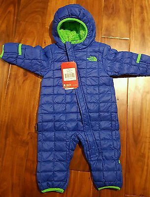 NWT The North Face Thermalball Bunting Suit, Baby Boys, Monster Blue, 3M-6M 3-6