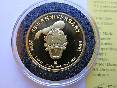 1990 1oz Disney Donald Duck Mintage 55 Gold coin with BOX + COA 55th Anniversary