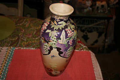 Antique Japanese Asian Moriage Satsuma Hand Painted Vase-Birds Flowers Butterfly
