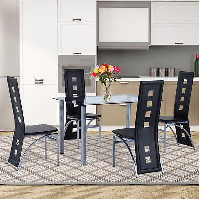 HOMCOM 5pc Glass Dining Table Set 4 Chairs Contemporary Metal Black Kitchen NEW