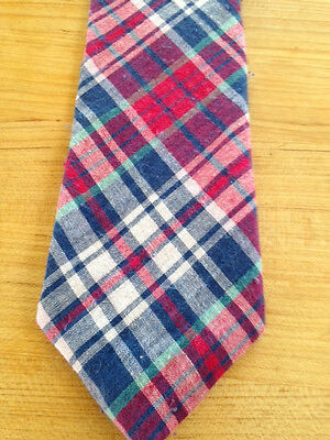 New Toddler  Boys Zipper Tie Madras Plaid Navy/red/made In Usa