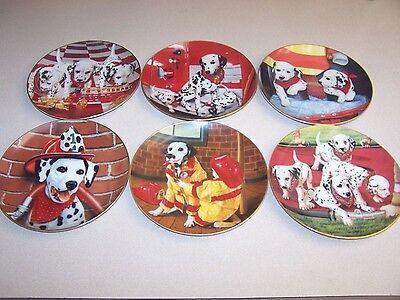 """The Danbury Mint-""""FIRE CAPERS"""" 1992 Dalmatians (6) Plates by Marty Roper"""