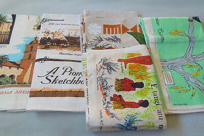 Vintage Souvenir Tea Towels Lot Of 5