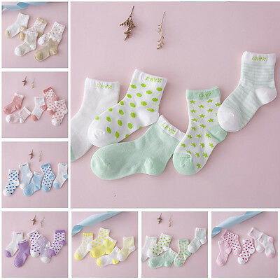 5 Pairs Soft Cotton Cartoon Socks For Newborn Infant Toddler Kids Baby Boy Girl
