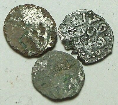 Lot of 3 original Islamic silver & billon akce coins Ottoman Empire unidentified