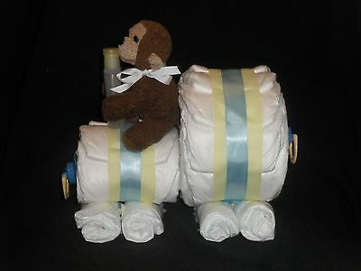 Blue and Yellow Diapertrain with Plush Monkey