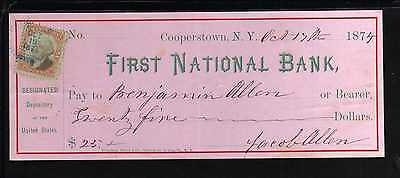 1874   First National Bank - Cooperstown, N.y. - C/w Revenue Stamp