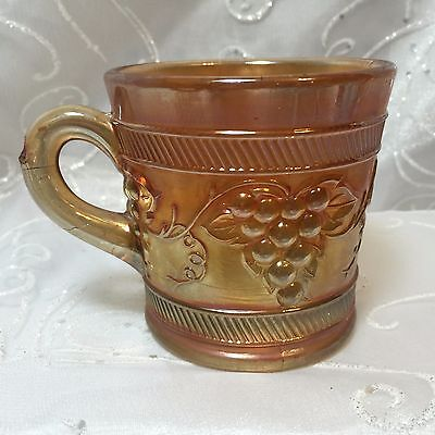 Fenton Carnival Glass Marigold Coffee Tea Mug Grape Pattern