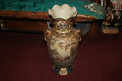 Japanese Asian Royal Satsuma Moriage Floor Vase With Beaded Details-Very Large