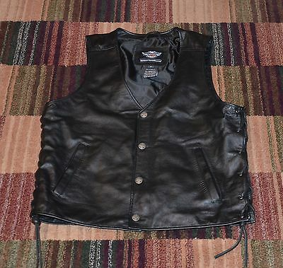 Harley Davidson Mens Pathway Leather Lace Side Vest 98103 - Medium - New W/o Tag