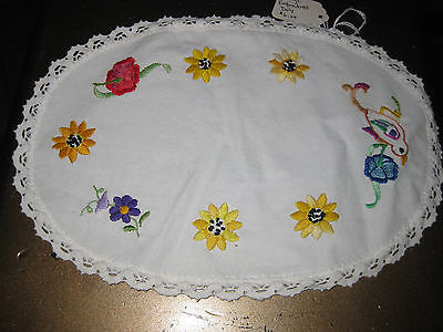 Bb: Vintage Hand Embroided Linen Doily