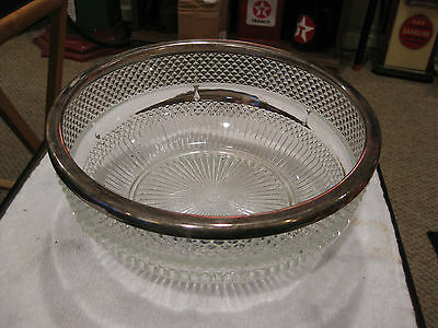 MW: ANTIQUE FACETED ETCHED CRYSTAL GLASS BOWL w/SILVER EDGING - SERVING - DINNER