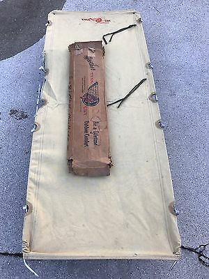 Vintage Tyee Cot Canvas Metal Frame Folding Army Camping Military Hiking Bed