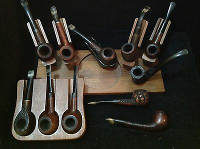 Estate lot of 11 vintage smoking pipes and 2x stands