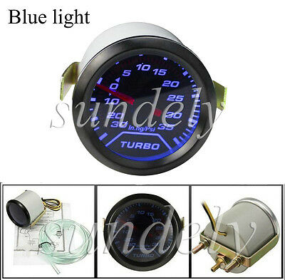 52mm 2″ Blue LED Light Car Auto Turbo Boost Pressure Gauge Smoked Dials Psi