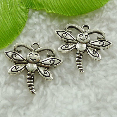 Free Ship 160 pieces tibet silver dragonfly charms 25x21mm #1710