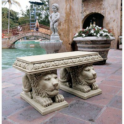 Male African Lion Statue Small Bench Seat Exotic Big Cat King of the Jungle Art