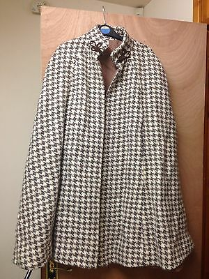 Women's Checked Shawl Cape Coat 50 S Vintage Beige Dogtooth Size Medium
