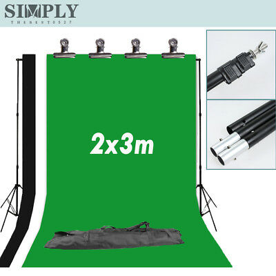 2Mx3M Photography Studio Light Black White Green Backdrop Background Stand Kit