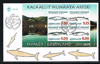 greenland 1997 whales mini sheet on FDC