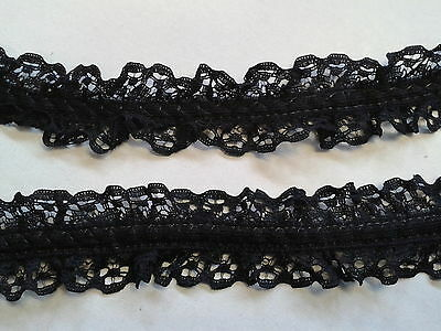 3 METRES OF DOUBLE EDGE RUFFLED BLACK LACE 2.5cm WIDE sewing crafts gothic trim