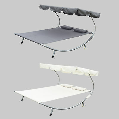 "Outsunny 79"" x 68"" Double Hammock Bed Chaise Lounge Relaxing with Metal Frame"