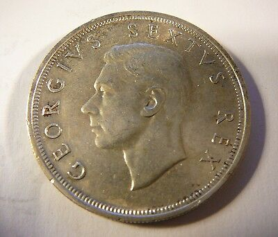 1949 South Africa 5 Shilling George VI silver coin