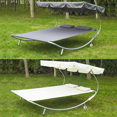 "79"" x 68"" Double Hammock Bed Chaise Lounge Relaxing with Metal Frame and Headres"